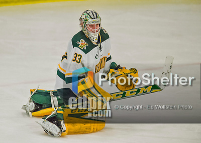 20 February 2016: University of Vermont Catamount Goaltender Packy Munson, a Freshman from Hugo, MN, expresses himself after giving up a third period goal to the Boston College Eagles at Gutterson Fieldhouse in Burlington, Vermont. The Eagles defeated the Catamounts 4-1 in the second game of their weekend series. Mandatory Credit: Ed Wolfstein Photo *** RAW (NEF) Image File Available ***