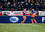 Nederland, Amsterdam, 7 februari 2016<br /> Eredivisie<br /> Seizoen 2015-2016<br /> De Klassieker <br /> Ajax-Feyenoord<br /> Jens Toornstra (l.) van Feyenoord viert zijn doelpunt, de 0-1, met teamgenoot Terence Kongolo.