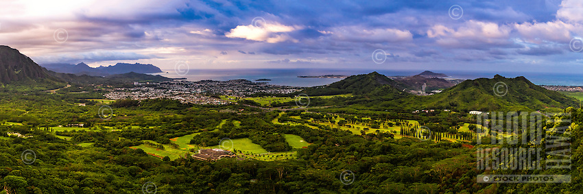 The view from the historic Pali Lookout of Windward O'ahu, including Kailua, Kane'ohe and Kane'ohe Bay.