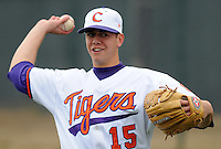 Clemson starting pitcher Graham Stoneburner warms up prior to a game between the Clemson Tigers and Mercer Bears on Feb. 24, 2008, at Doug Kingsmore Stadium in Clemson, S.C. Photo by: Tom Priddy/Four Seam Images