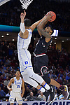 GREENVILLE, SC - MARCH 19: Sindarius Thornwell (0) of the University of South Carolina puts up a shot over Jayson Tatum (0) of Duke University during the 2017 NCAA Men's Basketball Tournament held at Bon Secours Wellness Arena on March 19, 2017 in Greenville, South Carolina. (Photo by Grant Halverson/NCAA Photos via Getty Images)