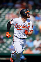Baltimore Orioles first baseman Chris Davis (19) runs to first base during a Grapefruit League Spring Training game against the Tampa Bay Rays on March 1, 2019 at Ed Smith Stadium in Sarasota, Florida.  Rays defeated the Orioles 10-5.  (Mike Janes/Four Seam Images)