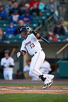 Rochester Red Wings shortstop Argenis Diaz (13) at bat during a game against the Toledo Mudhens on May 12, 2015 at Frontier Field in Rochester, New York.  Toledo defeated Rochester 8-0.  (Mike Janes/Four Seam Images)