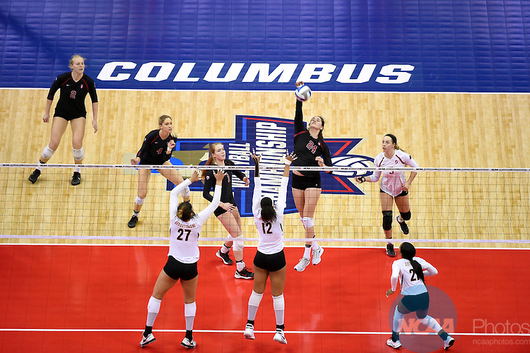 COLUMBUS, OH - DECEMBER 17:  Audriana Fitzmorris (24) of Stanford University spikes the ball against the University of Texas during the Division I Women's Volleyball Championship held at Nationwide Arena on December 17, 2016 in Columbus, Ohio.  Stanford defeated Texas 3-1 to win the national title. (Photo by Jamie Schwaberow/NCAA Photos via Getty Images)