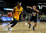 SIOUX FALLS, SD - MARCH 8: Vinnie Shahid #0 of the North Dakota State Bison drives to the basket past Sam Kearns #10 of the Oral Roberts Golden Eagles at the 2020 Summit League Basketball Championship in Sioux Falls, SD. (Photo by Dave Eggen/Inertia)