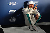 24th March 2018, Melbourne Grand Prix Circuit, Melbourne, Australia; Melbourne Formula One Grand Prix, qualifying; Mercedes AMG Petronas Motorsport AMG F1 Team; Lewis Hamilton relaxes after claiming pole