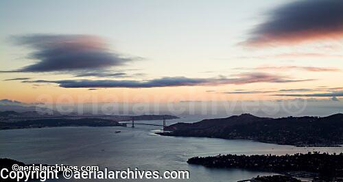 aerial photograph Golden Gate bridge, Marin headlands dusk San Francisco, California