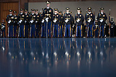 An Army Honor Guard stands for United States President Barack Obama's Armed Forces Full Honor Review Farewell Ceremony at Joint Base Myers-Henderson Hall, in Virginia on January 4, 2017. The five braces of the military honored the president and vice-president for their service as they conclude their final term in office. <br /> Credit: Kevin Dietsch / Pool via CNP