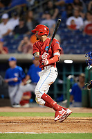 Clearwater Threshers right fielder Jose Pujols (23) follows through on a swing during a game against the Dunedin Blue Jays on April 6, 2018 at Spectrum Field in Clearwater, Florida.  Clearwater defeated Dunedin 8-0.  (Mike Janes/Four Seam Images)