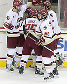 Brian Dumoulin (BC - 2), Barry Almeida (BC - 9), Matt Price (BC - 25), Matt Lombardi (BC - 24), Edwin Shea (BC - 8) - The Boston College Eagles defeated the University of Massachusetts-Amherst Minutemen 5-2 on Saturday, March 13, 2010, at Conte Forum in Chestnut Hill, Massachusetts, to sweep their Hockey East Quarterfinals matchup.