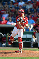 Philadelphia Phillies catcher John Hester (60) during an exhibition game against the University of Tampa on March 1, 2015 at Bright House Field in Clearwater, Florida.  University of Tampa defeated Philadelphia 6-2.  (Mike Janes/Four Seam Images)