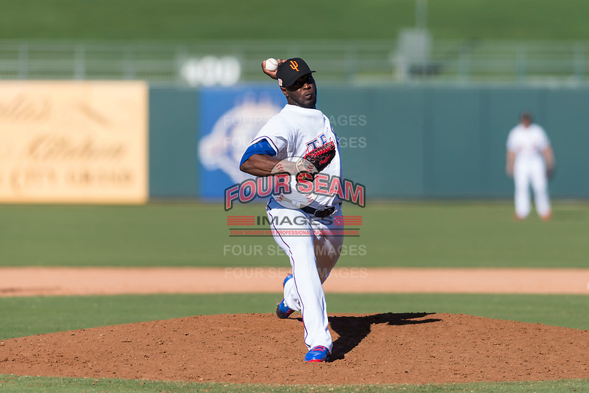 Surprise Saguaros relief pitcher C.D. Pelham (24), of the Texas Rangers organization, delivers a pitch during an Arizona Fall League game against the Peoria Javelinas at Surprise Stadium on October 17, 2018 in Surprise, Arizona. (Zachary Lucy/Four Seam Images)