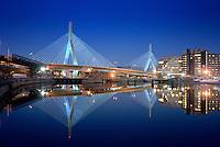 Zakim bridge evening reflection Boston, MA