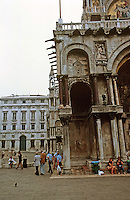 Venice:  Basilica of St. Marks, leaning facade.  Photo '83.