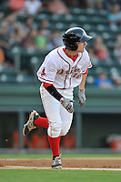 Left fielder Danny Mars (16) of the Greenville Drive bats in a game against the Greensboro Grasshoppers on Tuesday, August 25, 2015, at Fluor Field at the West End in Greenville, South Carolina. Greensboro won, 3-2. (Tom Priddy/Four Seam Images)