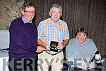 Chairman of Tralee Tidy Towns Committee, Joe Moynihan receives a Special Merit Award at the Tralee Tidy Towns awards in the Rose Hotel on Tuesday night from Brendan and Cllr Terry O'Brien.