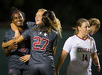 Stanford, CA - October 3, 2019: Naomi Girma, Sierra Enge, Bianca Caetano-Ferrara at Laird Q Cagan Stadium. The Stanford Cardinal beat the Washington State Cougars 5-0.
