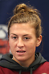 05 December 2013: Florida State's Kassey Kallman. The head coach and selected players from teams participating in the 2013 Women's College Cup spoke to the media at WakeMed Stadium in Cary, North Carolina.