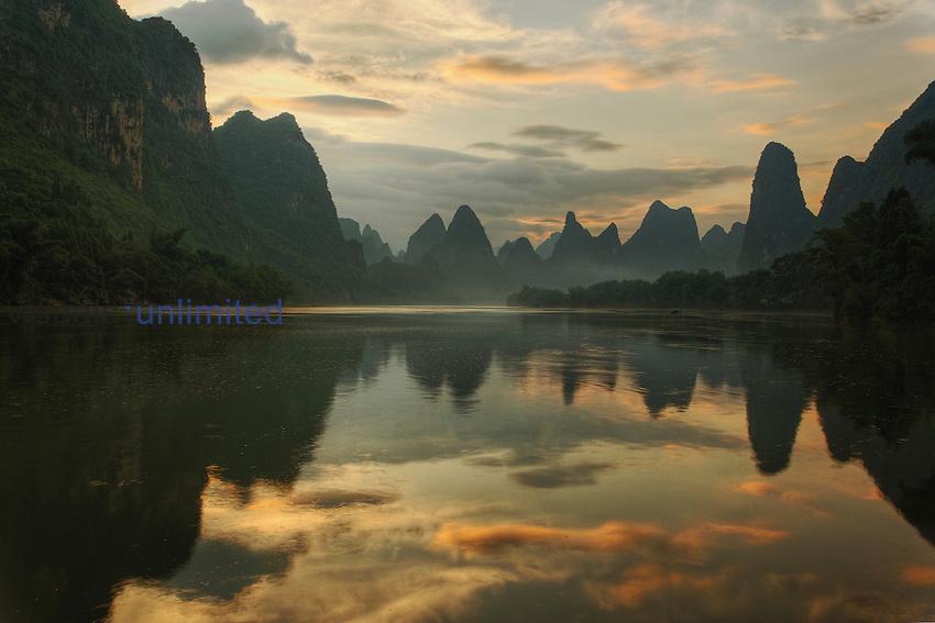 Li River and karst peaks at twilight, Guilin, China