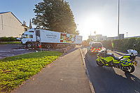 Pictured: The articulated M&S lorry which crashed on Fabian Way, Swansea, Wales, UK. Friday 20 September 2019<br /> Re: A Marks and Spencer articulated lorry has crashed through the central reservation of a dual carriageway and into a wall on the opposite side of the road on the A483 Fabian Road in the St Thomas area of Swansea, south Wales, UK.