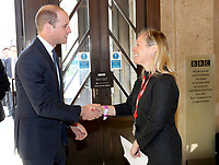 18 April 2017 - Prince William, Duke of Cambridge is greeted by Charlotte Moore, BBC Director of Content as he attends a reception and screening of the BBC documentary 'Mind over Marathon' at BBC Radio Theatre in London. The screening also launches the BBC season on mental health. Photo Credit: ALPR/AdMedia
