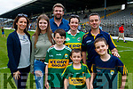 Claire, Caoimhe and Will Leahy with Joyce, Conor, Mike and Sean McCannon, Tralee, pictured at the Kerry v Clare Munster semi-final at Fitzgerald Stadium, Killarney on Sunday last.