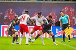 07.10.2018, Red Bull Arena, Leipzig, GER, 1. FBL 2018/2019, RB Leipzig vs. 1. FC N&uuml;rnberg/Nuernberg,<br /> <br /> DFL REGULATIONS PROHIBIT ANY USE OF PHOTOGRAPHS AS IMAGE SEQUENCES AND/OR QUASI-VIDEO.<br /> <br /> im Bild<br /> <br /> <br /> Yussuf Poulsen (#9, RB Leipzig), Nordi Mukiele (#22, RB Leipzig), Tim Leibold (#23, 1. FC Nuernberg), <br /> <br /> Foto &copy; nordphoto / Dostmann