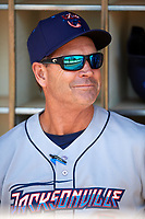 Jacksonville Jumbo Shrimp manager Randy Ready (5) in the dugout before a game against the Biloxi Shuckers on May 6, 2018 at MGM Park in Biloxi, Mississippi.  Biloxi defeated Jacksonville 6-5.  (Mike Janes/Four Seam Images)