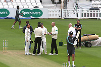 Kent captain, Heino Kuhn and Surrey captain, Rory Burns with the umpires ahead of start of play during Surrey CCC vs Kent CCC, Specsavers County Championship Division 1 Cricket at the Kia Oval on 7th July 2019