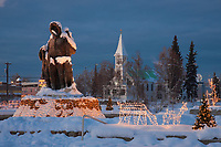 Golden heart plaza, First family statue, downtown Fairbanks, Alaska in the winter.