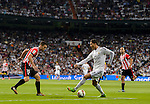 Real Madrid's Portuguese forward Cristiano Ronaldo during the Spanish league football match Real Madrid vs Athletic Club Bilbao at the Santiago Bernabeu stadium in Madrid on October 5, 2014.  PHOTOCALL3000/ DP
