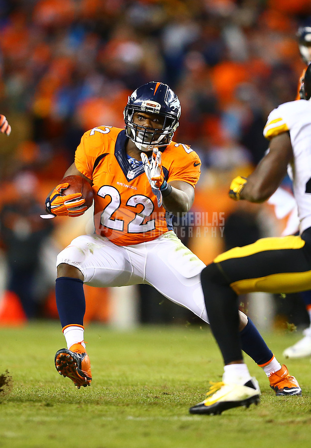 Jan 17, 2016; Denver, CO, USA; Denver Broncos running back C.J. Anderson (22) against the Pittsburgh Steelers during the AFC Divisional round playoff game at Sports Authority Field at Mile High. Mandatory Credit: Mark J. Rebilas-USA TODAY Sports