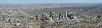 Denver skyline aerial panoramic.  April 2014