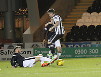 Lee Miller gets a foot in to beat Stephen Mallan in the St Mirren v Falkirk Scottish Professional Football League Ladbrokes Championship match played at the Paisley 2021 Stadium, Paisley on 1.3.16.