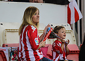 June 4th 2017, Estadi Montilivi,  Girona, Catalonia, Spain; Spanish Segunda División Football, Girona versus Zaragoza; A mother with a small child ready for kick-0ff