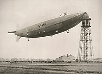 BNPS.co.uk (01202 558833)<br /> <br /> The R101 before setting off on her tragic maiden commercial voyage to India in 1930. <br /> <br /> The tragic tale of a pioneering pilot who made the first east-west transatlantic crossing in an airship can be told after his campaign medal emerged for sale 101 years later.<br /> <br /> Major George Scott CBE, who served in the Royal Naval Air Service and RAF in World War One, made headlines in 1919 when he commanded the airship R34 for its historic voyage.<br /> <br /> The arduous flight from East Fortune in Scotland to Mineola airfield in New York took 108 hours and 12 minutes, during which they 'dodged storms and ran low on fuel and hydrogen'. He was praised for his 'cool, alert and expert handling' of the 643ft long airship, and granted an audience with the American President Woodrow Wilson. <br /> <br /> However, his life ended in tragedy 11 years later when the R101 airship crashed on its maiden overseas voyage in northern France en route to India. Forty-eight people were killed in the disaster on October 5, 1930.<br /> <br /> Now, his Victory Medal, which was discovered by the vendor in a 'junk box' of old medals, is going under the hammer with Lockdales Auctioneers, of Ipswich, Suffolk.
