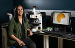 The research of Bala Chaudhary, an assistant professor in the Department of Environmental Science and Studies at DePaul University, examines soil ecological questions, with a focus on mycorrhizal fungi. In her lab in the College of Science and Health, Chaudhary compares traits of soil fungi under a microscope in an effort to address a variety of different environmental challenges such as biodiversity conservation, sustainable agriculture and climate change. (DePaul University/Jamie Moncrief)