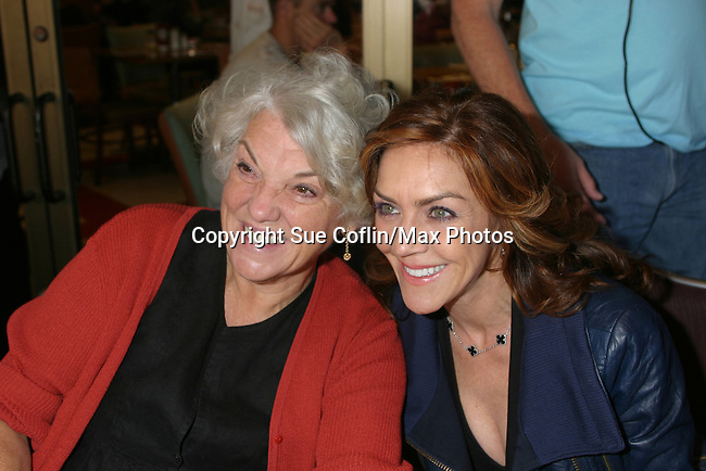 "General Hospital Tyne Daly ""Caroline Beale"" poses with Andrea McArdle (original Annie) and was on Search For Tomorrow ""Wendy Wilkins McNeal at The 26th Annual Broadway Flea Market and Grand Auction to benefit Broadway Cares/Equity Fights Aids on September 23, 2012 in Shubert Alley and Times Square, New York City, New York.  (Photo by Sue Coflin/Max Photos)"