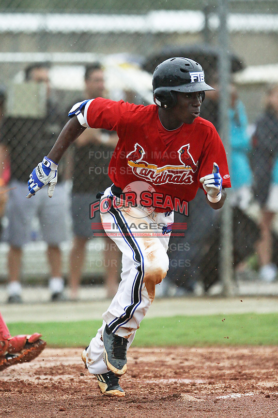 Nicholas Gordon, #36 of Olympia High School, Florida playing for the Cardinals Scout Team during the WWBA World Champsionship 2012 at the Roger Dean Complex on October 25, 2012 in Jupiter, Florida. (Stacy Jo Grant/Four Seam Images)..