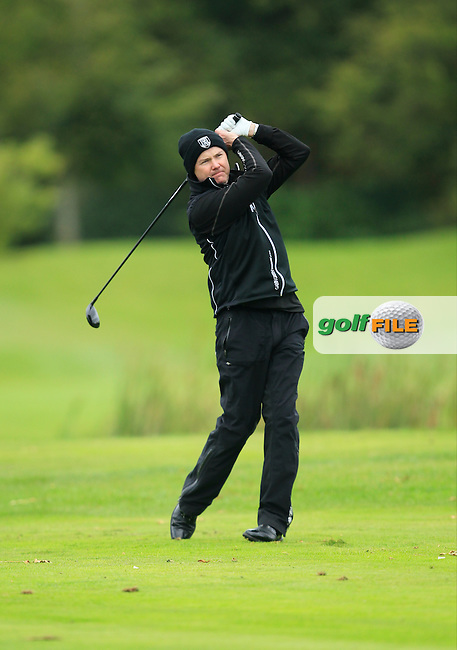 Paul Stevenson (Portadown G.C) on the 15th tee during Round 3 of The Cassidy Golf 103rd Irish PGA Championship in Roganstown Golf Club on Saturday 12th October 2013.<br /> Picture:  Thos Caffrey / www.golffile.ie