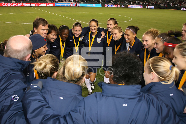 USA team get together after the game. USA captured the 2006 Gold Cup at Home Depot stadium in Carson, California on November 26 2006 thanks to a penalty kick call by the referee with only seconds remaining in the last period of overtime. With the penalty kick score USA beat Canada 2-1.