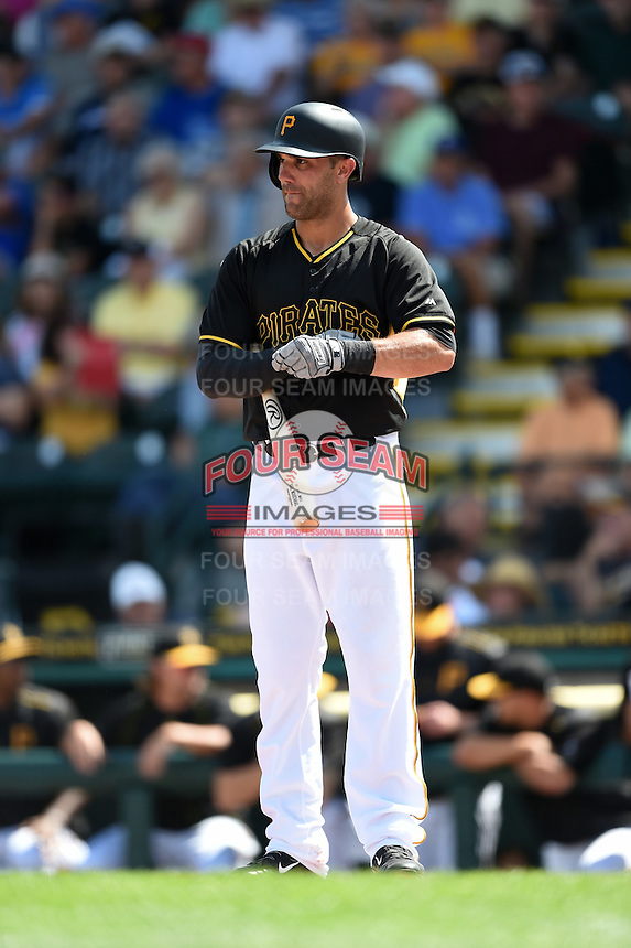 Pittsburgh Pirates outfielder Andrew Lambo (15) during a Spring Training game against the New York Yankees on March 5, 2015 at McKechnie Field in Bradenton, Florida.  New York defeated Pittsburgh 2-1.  (Mike Janes/Four Seam Images)