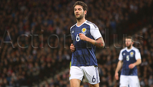 29.03.2016. Hampden Park, Glasgow, Scotland. International Football Friendly Scotland versus Denmark.  Charlie Mulgrew