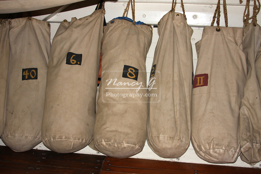 Ship duffel bags hanging on the US Brig Niagara Ship