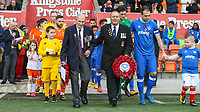 Veterans of the armed forces lead the teams out onto the pitch<br /> <br /> Photographer Alex Dodd/CameraSport<br /> <br /> The EFL Sky Bet League One - Blackpool v Portsmouth - Saturday 11th November 2017 - Bloomfield Road - Blackpool<br /> <br /> World Copyright &copy; 2017 CameraSport. All rights reserved. 43 Linden Ave. Countesthorpe. Leicester. England. LE8 5PG - Tel: +44 (0) 116 277 4147 - admin@camerasport.com - www.camerasport.com