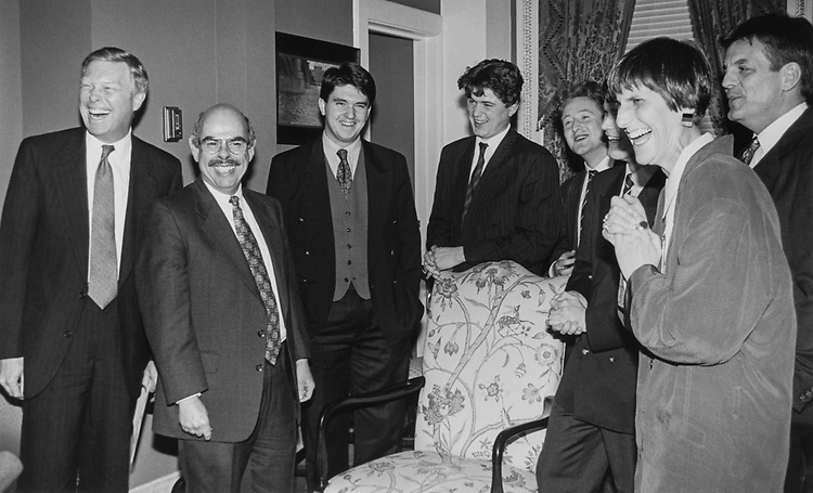 4 Oxford Debaters meet with Democrats, including Rep. Henry Waxman, D-Calif., to give them some pointers before Democrats go head to head with GOP members on the House floor for the first Oxford Style debate in the House on March 16, 1994. (Photo by Maureen Keating/CQ Roll Call)