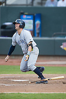 Cam Gallagher (35) of the Wilmington Blue Rocks connects for a 2-run home run against the Winston-Salem Dash at BB&T Ballpark on June 10, 2015 in Winston-Salem, North Carolina.  The Blue Rocks defeated the Dash 11-5.  (Brian Westerholt/Four Seam Images)