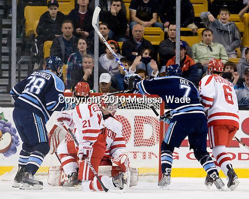 David de Kastrozza (Maine - 28), Sean Escobedo (BU - 21), Kieran Millan (BU - 31), Robby Dee (Maine - 7), Joe Pereira (BU - 6) - The University of Maine Black Bears defeated the Boston University Terriers 5-2 (EN) on Friday, March 19, 2010, in their Hockey East championship semi-final at the TD Garden in Boston, Massachusetts.