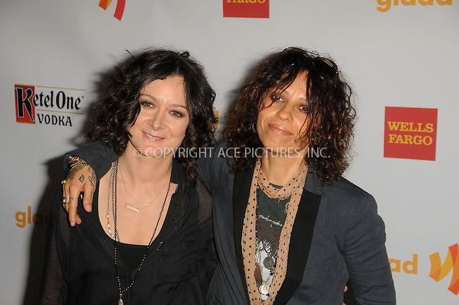 WWW.ACEPIXS.COM . . . . .  ....April 21 2012, LA....Actress Sara Gilbert (L) and musician Linda Perry arriving at the 23rd Annual GLAAD Media Awards at the Westin Bonaventure Hotel on April 21, 2012 in Los Angeles, California....Please byline: PETER WEST - ACE PICTURES.... *** ***..Ace Pictures, Inc:  ..Philip Vaughan (212) 243-8787 or (646) 769 0430..e-mail: info@acepixs.com..web: http://www.acepixs.com