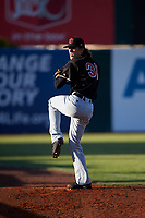 Visalia Rawhide starting pitcher Connor Grey (30) warms up before a California League game against the Lancaster JetHawks at The Hangar on May 17, 2018 in Lancaster, California. Lancaster defeated Visalia 11-9. (Zachary Lucy/Four Seam Images)